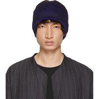 Issey Miyake Black And Blue Press Beanie