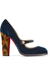Christian Louboutin Top Street 100 Velvet Mary Jane Pumps Storm Blue