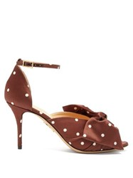 Charlotte Olympia Bow Embellished Polka Dot Satin Pumps Dark Brown