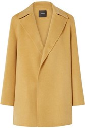 Theory Wool And Cashmere Blend Coat Mustard