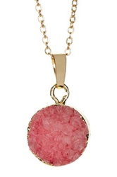 Leila Pink Druzy Gold Rimmed Necklace No Color