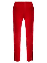 Allude Slit Cuff Cashmere Trousers Red