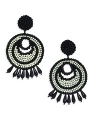 Kenneth Jay Lane Seed Bead Gypsy Hoop Clip On Earrings Black