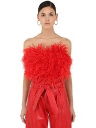 Attico Feathered Strapless Crop Top