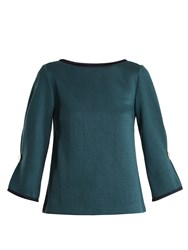 Osman Lamare Contrast Trim Top Dark Green