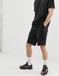 Criminal Damage Co Ord Shorts In Black With Pinstripe