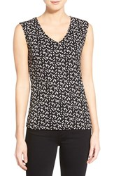 Women's Halogen Sleeveless V Neck Top Black Ivory Squares Print