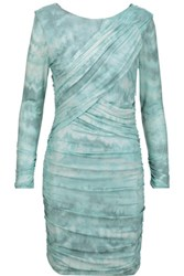 Roberto Cavalli Ruched Printed Stretch Jersey Dress Turquoise