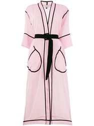 Murmur Contrast Piped Belted Kimono Coat Pink And Purple