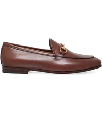 Gucci Jordaan Leather Loafers Brown