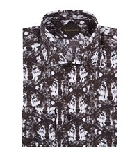 Billionaire Slim Fit Wolf Print Shirt Male Black