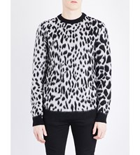 Saint Laurent Leopard Print Wool Jumper Noir Naturel