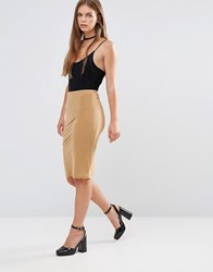 Glamorous Lurex Bodycon Midi Skirt Mustard Bodycon Lure Yellow