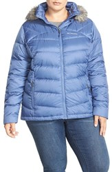 Plus Size Women's Columbia 'Glam Her' Hooded Down Jacket With Faux Fur Trim Blue Bell