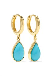 Jennifer Meyer Huggies 18 Karat Gold Turquoise Earrings One Size