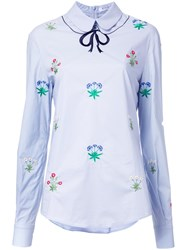 Vivetta Floral Embroidery Shirt Blue
