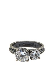 Bottega Veneta Double Cubic Zirconia And Silver Ring Crystal