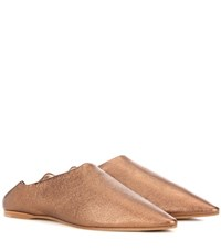 Acne Studios Amina Space Metallic Leather Slippers Brown