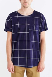Your Neighbors Grid Cotton Linen Tee Navy