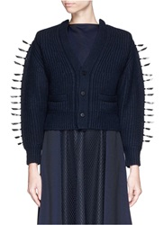 Toga Archives Faux Leather Ribbon Knit Cardigan Blue