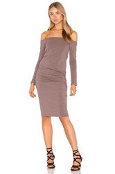 Monrow Off The Shoulder Long Sleeve Dress Mauve