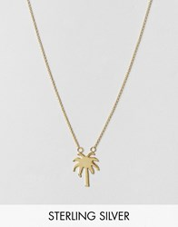 Asos Gold Plated Sterling Silver Palm Tree Necklace Gold