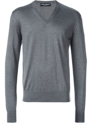 Dolce And Gabbana V Neck Sweater Grey