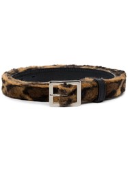Neighborhood Leopard Print Leather Belt 60