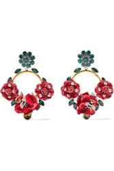 Dolce And Gabbana Gold Tone Crystal Velvet Acrylic Clip Earrings Red