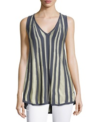 Minnie Rose V Neck Zebra Print Knit Tank Top Gravel Pl