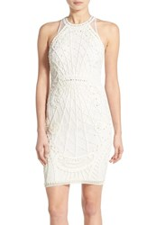Women's French Connection 'Pearl Cage' Embellished Illusion Back Sheath Dress