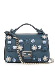 Fendi Double Flowerland Micro Baguette Cross Body Bag Blue