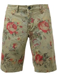 Re Hash Floral Shorts Men Cotton Spandex Elastane 34 Green