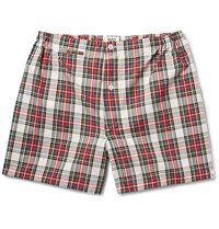 Sleepy Jones Jasper Checked Cotton Boxer Shorts Red