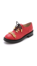 Moschino Leather Oxfords Red