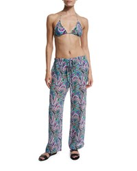 Etro Paisley Silk Beach Coverup Pants Multicolor