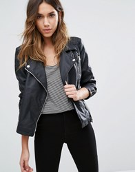 Only Faux Leather Biker Jacket With Zip Detail Black