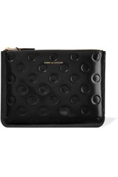 Comme Des Garcons Embossed Glossed Leather Pouch Black