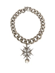 Alexander Mcqueen Medal Chunky Brass Necklace Silver