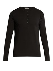 Adam By Adam Lippes Long Sleeved Cotton Henley Top Black