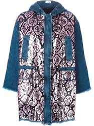 Au Jour Le Jour Sequin Embellished Denim Coat Blue