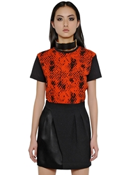Ungaro Python Printed Stretch Cotton T Shirt Orange Black