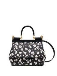 Dolce And Gabbana Sicily Small Two Tone Floral Textured Leather Top Handle Satchel Black White