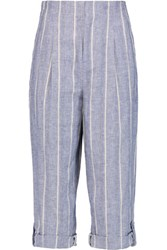 Alice Olivia Rey Striped Linen And Cotton Blend Culottes Blue
