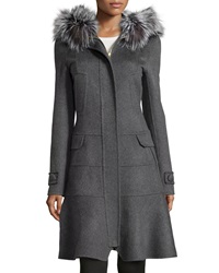 J. Mendel Fur Trimmed Hooded Fluted Coat