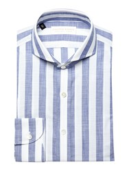 Chester Barrie Contemp Henry Bold Chambray Stripe White