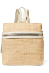 Kara Small Textured Leather Trimmed Straw Backpack Beige