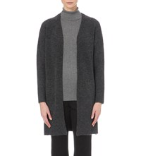 Whistles Open Front Knitted Pocket Cardigan Grey