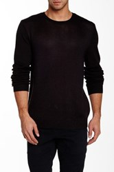 Vanishing Elephant Mixed Texture Crew Neck Pullover Black