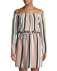Dex Off The Shoulder Striped Belted Dress Dstlav